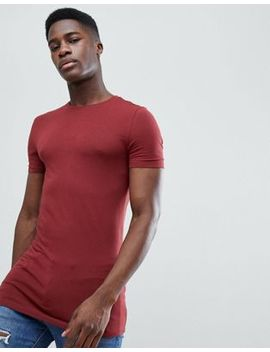 Asos Design Longline Muscle Fit T Shirt With Crew Neck In Red by Asos Design