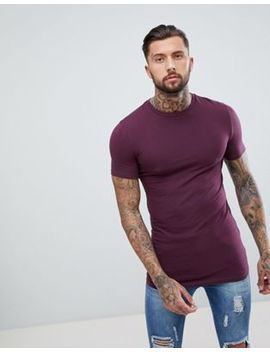 Asos Design Longline Muscle Fit T Shirt With Crew Neck And Stretch In Red by Asos Design