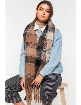 Fall Plaid Fringe Scarf by A'gaci