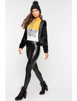 Tummy Tuck Liquid Faux Leatherette Legging by A'gaci