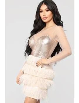 Dance My Heart Out Mini Dress   Champagne by Fashion Nova
