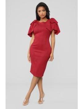 She's Daring Suede Midi Dress   Red by Fashion Nova