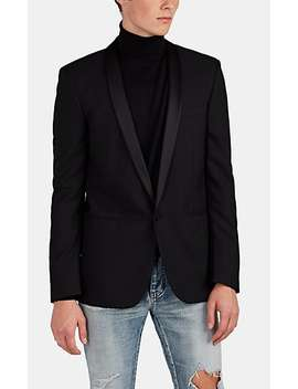 Wool Jacquard One Button Tuxedo Jacket by Saint Laurent