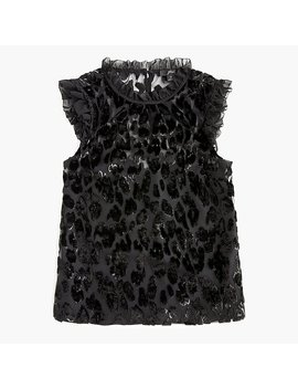 Ruffle Shell In Burnout Velvet Leopard by J.Crew
