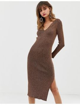 River Island Knitted Dress With V Neck In Bronze by River Island