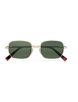 The Flash Square Frame Gold Tone Sunglasses by Le Specs