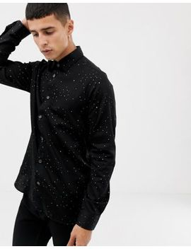 Ted Baker Party Shirt In Black With Metallic Star Print by Ted Baker