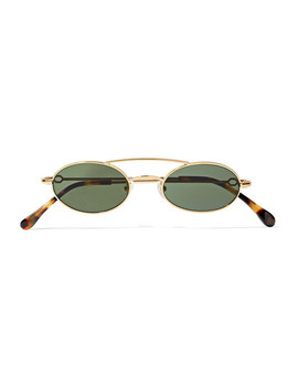 + Linda Farrow Oval Frame Gold Tone Sunglasses by Alessandra Rich