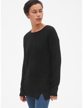 Shaker Stitch Lace Up Pullover Sweater Tunic by Gap