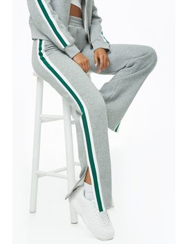 Striped Trim Heather Knit Sweatpants by Forever 21