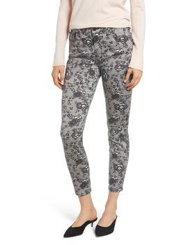 Lace Pattern Skinny Ankle Jeans by Jen7