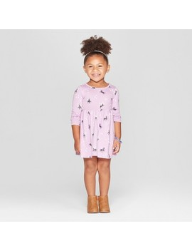 Toddler Girls' Unicorn All Over Print A Line Dress   Cat & Jack™ Purple by Cat & Jack