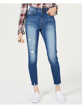 Juniors' Ripped High Waisted Ankle Length Skinny Jeans, Created For Macy's by American Rag