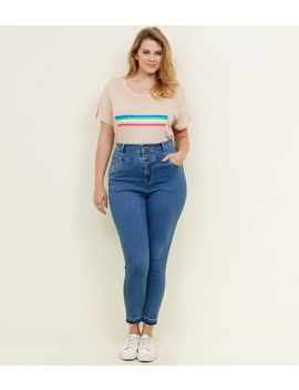 Curves Blue Drop Hem High Waist Skinny Jeans by New Look
