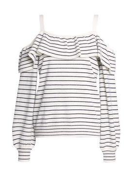 Delbin B Cold Shoulder Striped Wool And Cashmere Blend Sweater by Joie