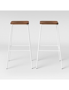 Set Of 2 Rhodes Metal & Wood Seat Square Barstool   Project 62™ by Project 62