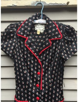 70s Rare Black And Red Floral Dress Ossie Clark Biba Style 30s Style Small by Etsy