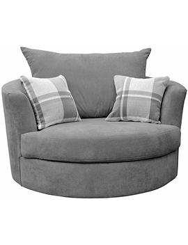 Large Swivel Round Cuddle Chair Fabric (Grey) by Sofas And More