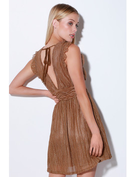 Stun And Only Brown Metallic Stripe Mini Dress by Moon River