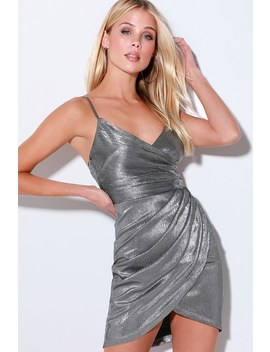 Luminous Silver Pleated Wrap Dress by Lulus