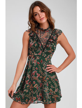 Dawn Forest Green Floral Print Ruffled Mini Dress by Moon River