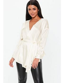 Ivory Plunge Tie Waist Blouse by Missguided