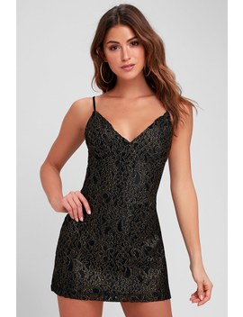 Dominique Gold And Black Lace Mini Dress by Obey