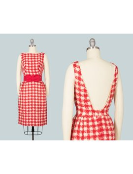Vintage 1960s Dress | 60s Mohair Checkered Houndstooth Red Open Back Wiggle Bombshell Cocktail Holiday Party Dress W/ Bow Belt (Small) by Etsy