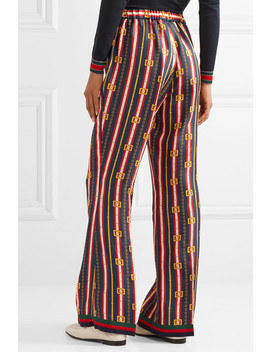 Printed Silk Twill Wide Leg Pants by Gucci