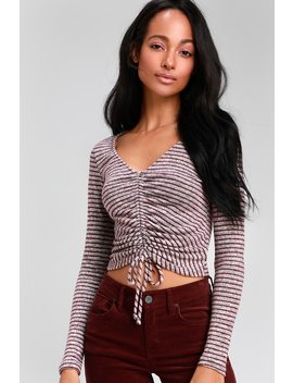 Cutie Pie Burgundy And Heather Grey Striped Long Sleeve Top by Lulus