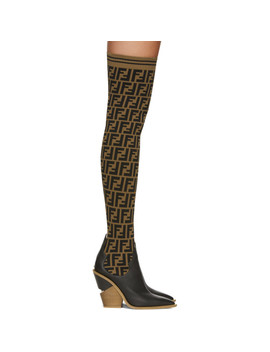 Black 'forever Fendi' Cowboy Over The Knee Sock Boots by Fendi