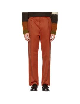 红色直筒褶裥长裤 by Acne Studios