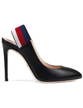 Leather Web Slingback Pumps by Gucci