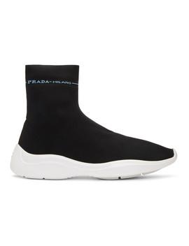 Black Knit High Top Sneakers by Prada