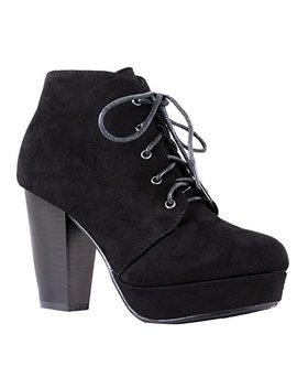 Women's Ankle Boots Lace Up Block Chunky Heel Dress Booties Comfort Party Shoes Cm86 by Sho Beautiful