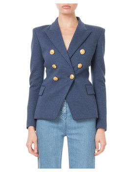 Double Breasted Golden Button Classic Jersey Blazer by Balmain