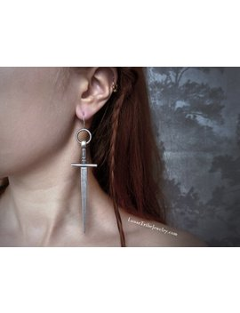 Sword Earrings, Viking Jewelry, Game Of Thrones Jewelry, Witchy Jewelry, Large Cross Earrings, Dagger Earrings by Etsy