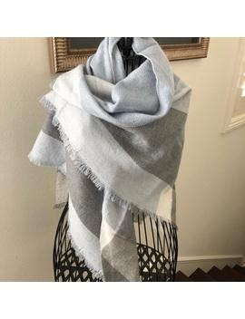 Grey, Blue, White Wool Scarf by Poshmark