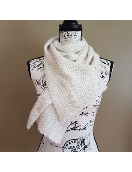Super Soft Sparkly White Warm Scarf With Buttons by Poshmark
