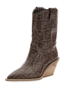 Ff Short Western Booties by Fendi