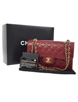 Auth Chanel Quilted Cc Double Flap Chain Shoulder Bag Red Caviar Leather N00721 by Chanel