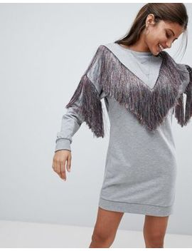 Asos Design Sweat Dress With Rainbow Fringing by Asos Design