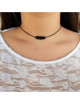 Black Onyx Choker, Gemstone Choker, Boho Choker, Bohemian Choker, Healing Stones, Thin Black Choker, Cute Choker, Choker Necklace, Simple by Etsy