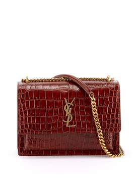 Sunset Medium Ysl Monogram Faux Croc Shoulder Bag by Saint Laurent