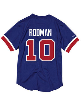 Men's Dennis Rodman Detroit Pistons Name And Number Mesh Crewneck Jersey by Mitchell & Ness