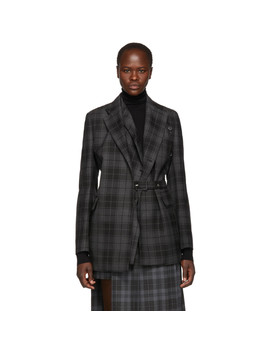 Grey & Black Check Belted Layer Blazer by Rokh