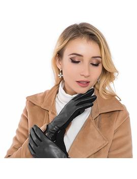 Women Leather Gloves Winter Touchscreen Warm Plain Gloves  Touch Screen Texting For Phone by Whiteleopard