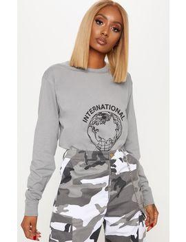 Whitney Houston Slogan Grey Oversized Midi Dress by Prettylittlething