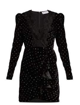 Crystal Embellished Velvet Mini Dress by Matches Fashion