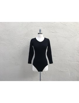 1970 1980's Vintage Leotard Solid Black Bodysuit Long Sleeve Round Neck Super Stretchy Dance Costume Simple Minimalist Medium M by Etsy